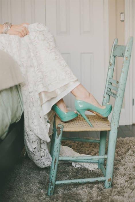 Zapatos de novia a color, el verde