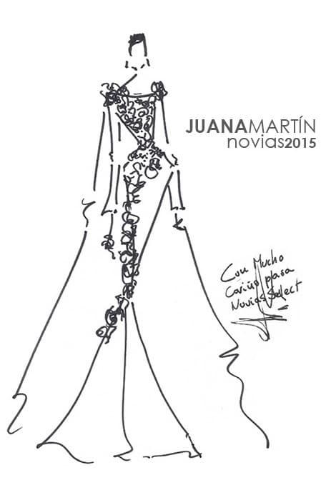 Boceto dedicado a Novias Select por la diseñadora Juana Martín