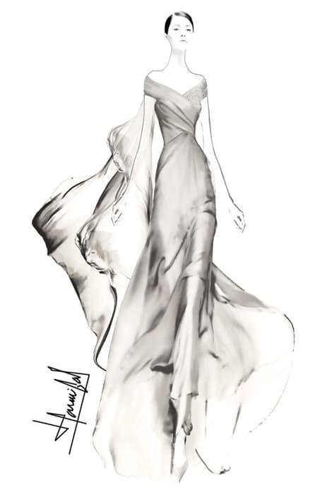Boceto vestido de novia dedicado a Novias Select por Hannibal Laguna