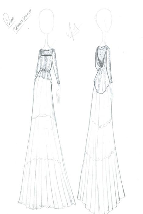 Boceto vestido novia dedicado a Novias Select por Isabel Núñez, diseñadora