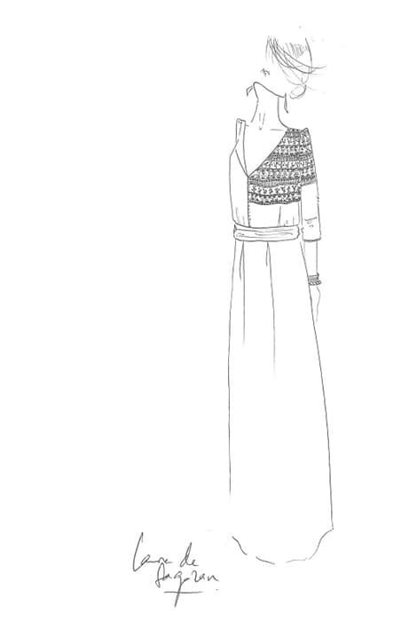 Boceto dedicado a Novias Select por la diseñadora Laure de Sagazan