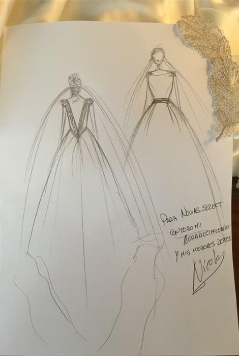 Boceto dedicado a Novias Select por el diseñador Nicolás Costura