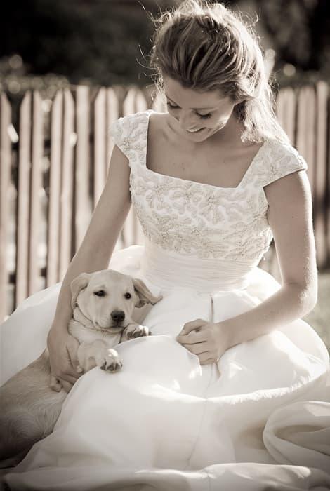 Vestido de novia de Teresa Palazuelo acompañada con un perro