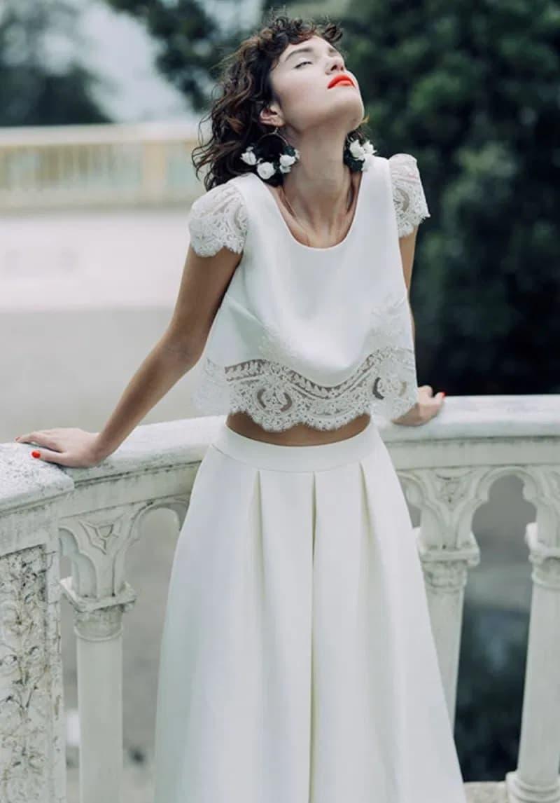 Conjunto de top y falda para novia Laure de Sagazan 2020