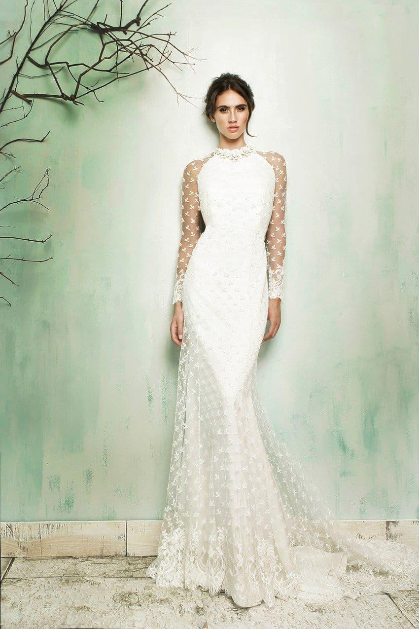 Vestido de novia de manga larga de María Barragán