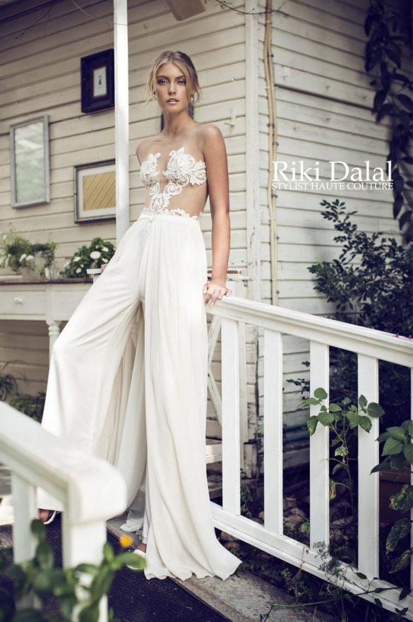 Traje de novia con pantalones de Riki Dalal