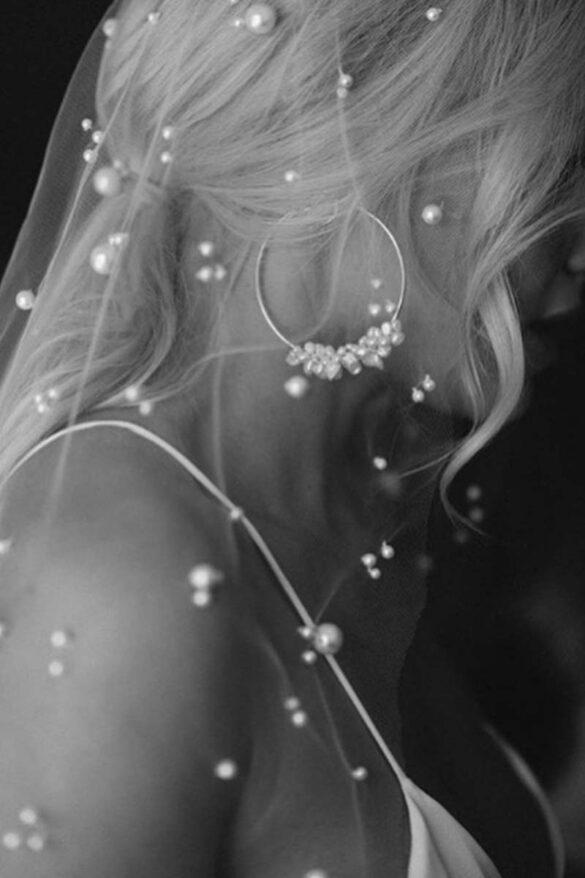 Pendientes de aro con perlas para novia