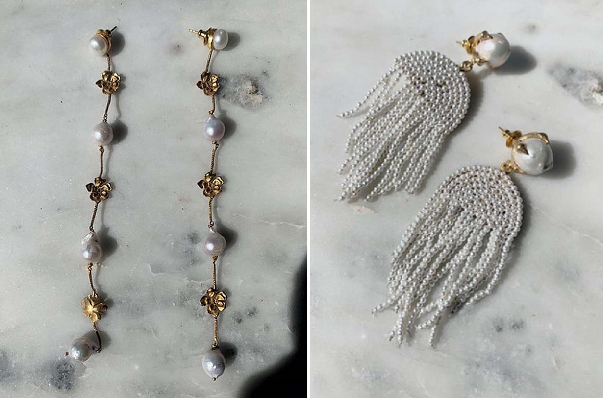 Dos modelos de pendientes con perlas para novias de la firma Maison Roe