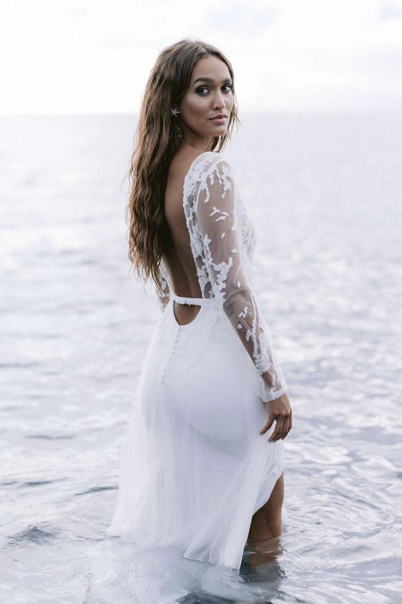 Rime Arodaky vestido novia con manga larga 2021